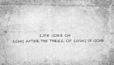 """life goes on long after the thrill of living is gone.  """"Jack and Diane"""" John Cougar Melloncamp"""