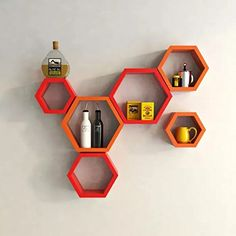 Onlineshoppee Fancy Set of 6 Hexagonal Shape MDF Wall Shelf Big Size ( 10.5 x 4x 10.5) inch Color- Red and Orange >>> You can find more details by visiting the image link. (This is an affiliate link and I receive a commission for the sales)