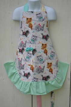 Girls Cat Apron Little Girls Kitten Apron Reversible Apron