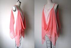 Silk Chiffon Coral Sheer Drape Top, Easy Summer Womens Tank, Coral Top, Sustainable Fashion, One of a Kind