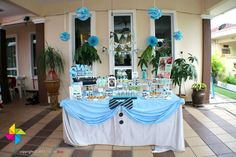 """Baby Ivan's """"A Little Man Is Here"""" Party. Backdrop, dessert table & decor design & setup by ParteeBoo - The Party Designers"""