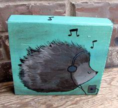 Hedgehog Original Painting on Wood, Woodland Nursery Wall Art, Children Decor for Kids Room