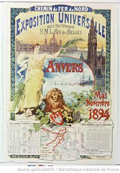¤ Chemin de fer du Nord. Exposition Universelle... Anvers... mai-novembre 1894 : affiche by Gustave Fraipont.