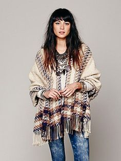 Free People Striped Border Hooded Poncho