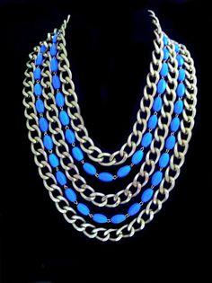 Howlite chain necklace 2013 by Helena Karter Jewellery Design. Love Blue, Costume Jewelry, Jewelry Design, Jewels, Jewellery, Chain, Handmade, Color, Women