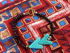 Garnet Turquoise Arrow Bracelet by KarisaMiaDesigns on Etsy