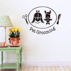 Hairdressing Pet Funny Wall Sticker Removable Dog Grooming Salon Wall Paper Kids Room Sticker Pet Shop Decor Home Decor Vinyl Wall Art, Wall Sticker, Wall Art Decor, Wall Decals, Dog Grooming Salons, Pet Grooming, Girl And Dog, Boy Or Girl, Dog Shots