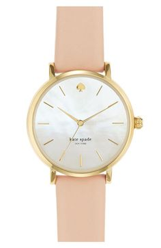 kate spade new york 'metro' round leather strap watch, 34mm | Nordstrom ($195.00)