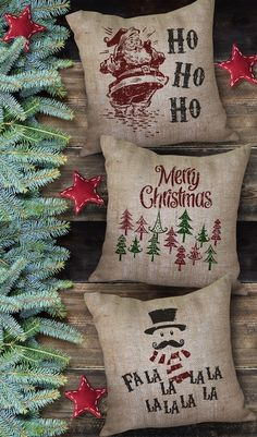 Holiday Burlap Pillows so cute! Holiday Burlap Pillows so cute! Burlap Christmas, Merry Little Christmas, Noel Christmas, Primitive Christmas, Country Christmas, Winter Christmas, Christmas Cushions, Christmas Decor, Magical Christmas