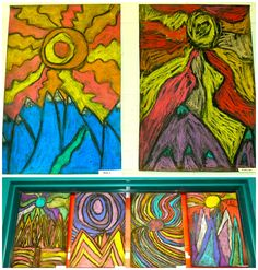 When I found out my graders were studying landforms in their Social Studies unit, I knew I had to try these Ted Harrison landscapes again. We went about the project in a pretty similar fashion … Art Lessons For Kids, Art Lessons Elementary, Art For Kids, Kid Art, Elements Of Art Texture, Elements Of Color, Chalk Pastel Art, Chalk Pastels, Oil Pastels