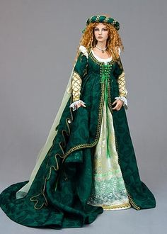 Martha Boers is an award-winning Canadian doll maker and costumer specializing in fantasy and historical-style costumes. Mode Renaissance, Costume Renaissance, Renaissance Fashion, Pretty Dolls, Beautiful Dolls, Barbie Clothes, Barbie Dolls, Dolls Dolls, Indian Dolls