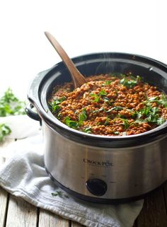 Red lentil curry is one of my favorites! This version is so simple - just toss everything in the crockpot. Easy, healthy, and full of flavor. | pinchofyum.com