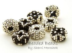Mini Discos Beaded Beads - earring pairs spacer beads - basic black and silver