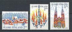 FINLANDE 1997 N° 1377/1379 ** Neufs = MNH Superbes Cote 4 € Noël Christmas Village neige Lustre Eglise Saint Jean Helsin