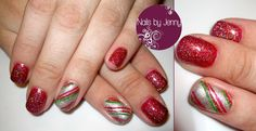 Good Gossip and Night Shimmer - Gelish Manicure with Candy Cane Accents