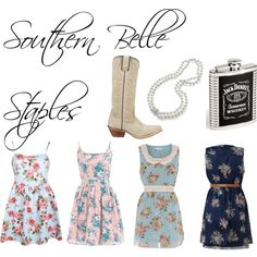 Southern Belle Style floral dress, pearls, cowboy boots, and your best man Jack