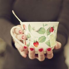 tea time. lovely strawberry cup