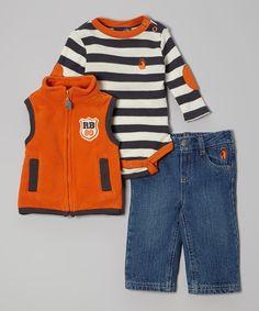 Orange & Charcoal Stripe Bodysuit Set - Infant by Rugged Bear #zulily #zulilyfinds