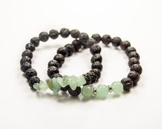 Anxiety - Luck - Stress-relief - Migraine-relief - Aventurine & Lava bracelet - Essential Oil diffuser by GemsdeVine on Etsy