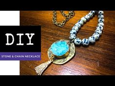 How To Make A Beaded Gemstone & Chain Necklace With Pendant - YouTube