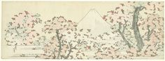 Fuji and blossoming cherry threes. Katsushika Hokusai 1800-1805. Rijksmuseum Amsterdam