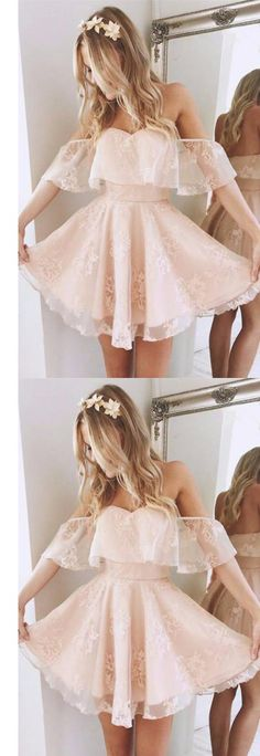 Off-the-shoulder Homecoming Dress, Cheap Prom Dress Short, Pearl Pink Homecoming Dress, Graduation Dresses for Teens, Cheap Homecoming Dress