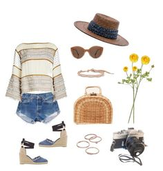 """""""Super Bloom"""" by stephc ❤ liked on Polyvore featuring Levi's, See by Chloé, Janessa Leone, Illesteva, Castañer, Kayu, Chan Luu, LC Lauren Conrad and Nearly Natural"""