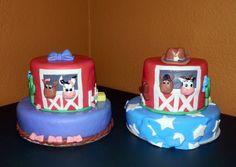 Cowboy And Cowgirl Twin Farm Birthday Cakes Barn Farm Cow Girl and Cow Boy Birthday cakes for Twins