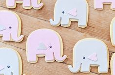 Elephant Cookies Party Pink Grey