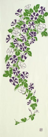 Japanese washcloth, Tenugui 手ぬぐい「夏の輝き紫」summer brightness