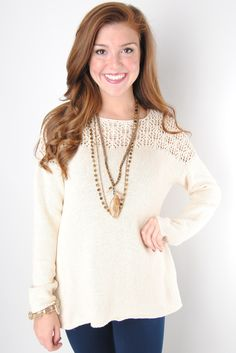Oatmeal Sweater with Open Knit Neckline – Deep South Pout