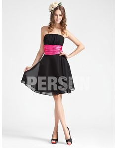 Chiffon Strapless Ruched Sash Knee Length Bridesmaid Dress on Sale at Persun.co.uk - $71.8