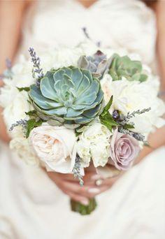 Simple, white & succulent bouquet.