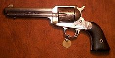 """❦ Remington Single Action .44 Revolver  This is a very rare early Remington Model 1890, .44 Caliber WCF that has only recently been identified as the """"Transitional"""" model. You will notice that this early design has a much shorter web under the barrel as opposed to the long sweeping one that characterizes most other Remingtons of this era. The original owner of this piece is still being investigated. This gun is all original."""