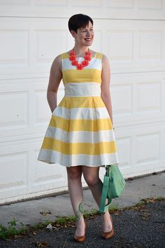 Already Pretty outfit featuring yellow and white striped eShakti dress, J.Crew Beaded Rose necklace, mint green Fossil handbag, cognac Corso Como Del pumps