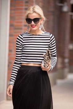 oversize glasses and stripes