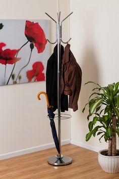 Hamilton Free Standing Metal Coat Rack With Umbrella Base Chrome