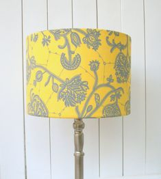 Yellow and grey fabric lampshade drum - table, floor or pendant lamp