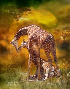 Shop Africa - Giraffe World Art Poster/Print Poster created by romanceworks. Animals And Pets, Baby Animals, Cute Animals, Safari Animals, Wild Animals, Mundo Animal, My Animal, Giraffe Art, Elephant
