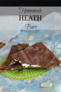 Homemade Heath Bars: Homemade butter toffee topped with sliced almonds and milk chocolate makes for a surprisingly simple version of your favorite Heath Bars. #chocolate #candy #desserts #recipe