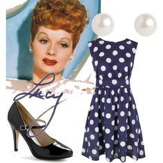 I Love Lucy by lbjohn on Polyvore featuring Emily and Fin, Monet, polka dots, lucy, high heels, pearls, i love lucy, apron and lucille ball