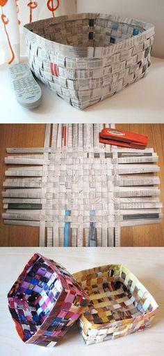 cestas reciclando revistas