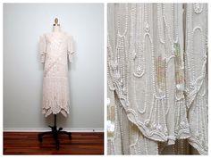 Crema de lentejuelas iridiscentes perlas perlas Vintage por braxae