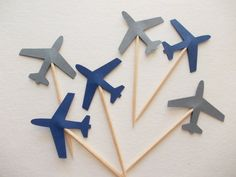 24 Airplane Party Picks Navy Blue & Gray von LilpawsPaperArt
