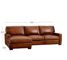Turner Square Arm Leather 2-Piece Chaise Sectional | Pottery Barn