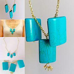 Three Turquoise Semi-Precious Stone Pendants on by LovelybyLee