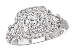 Square Halo Diamond Ring in 14kt White Gold from Kim International