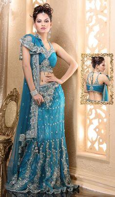 blue and silver bridal lengha