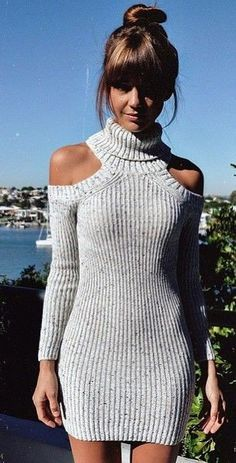 Grey Knit Dress @roressclothes closet ideas #women fashion outfit #clothing style apparel
