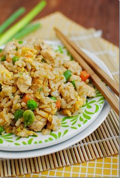Fried Rice with Chicken   Rice Lg. Skinless Chicken Breast - bite pieces 2 eggs mixed veggies frozen green onions sesame oil soy sauce
